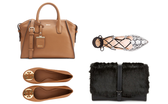 dkny bag, tory burch ballerina flats, fur clutch, tie up flats