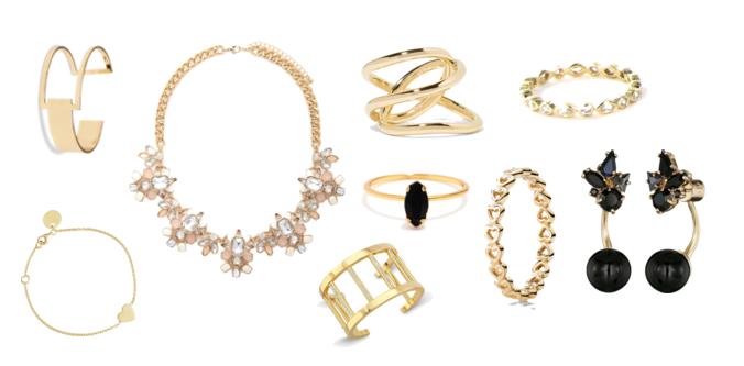 jewelry gold rings, bracelets, heart bracelet, chunky gold necklace, black earrings