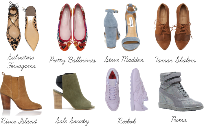 spring wardrobe makover shoes ballerinas, sneakers and wedge ankle boots