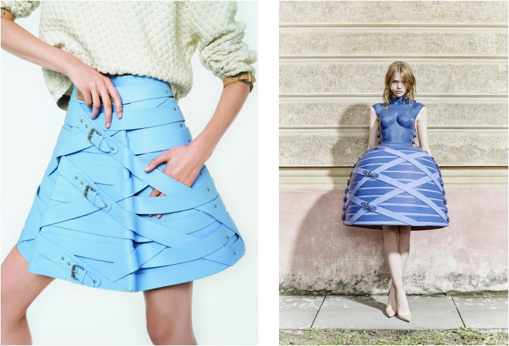 marina hoermanseder strap skirt blue collection lookbook