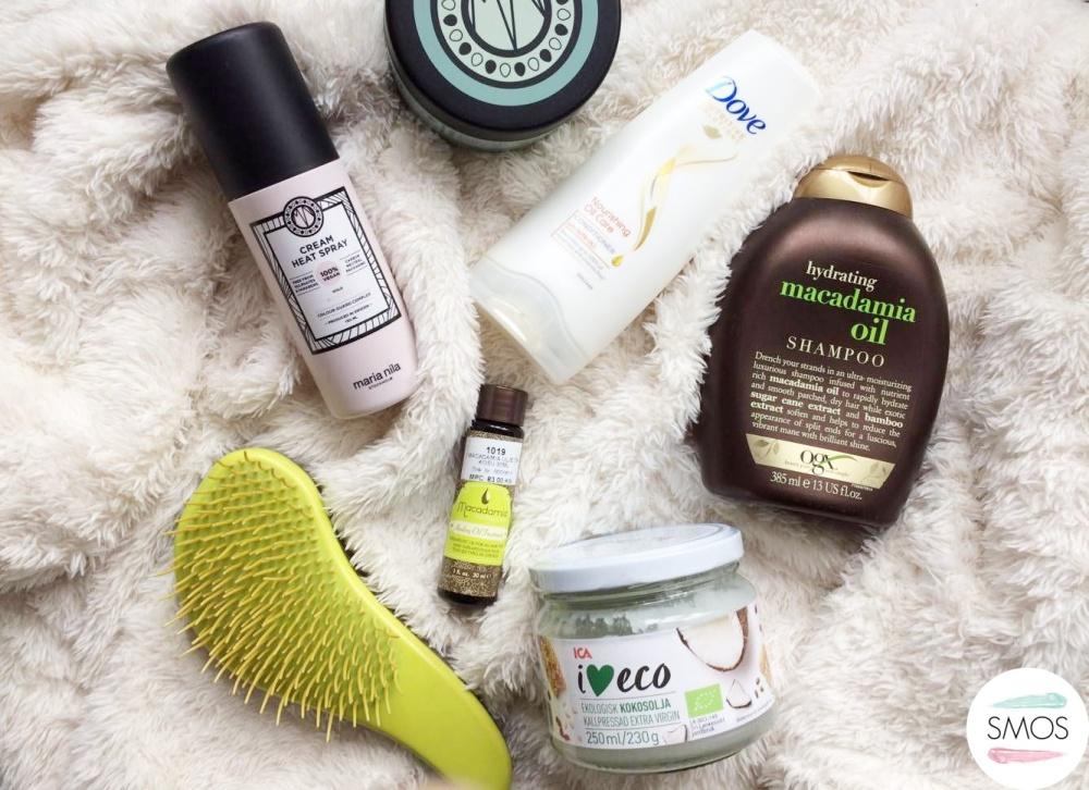 hydrating hair care routine maria nilla dove oqx macadamia