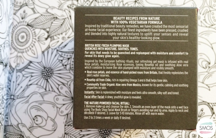 THE BODY SHOP British Rose Fresh Plumping Mask colouring book